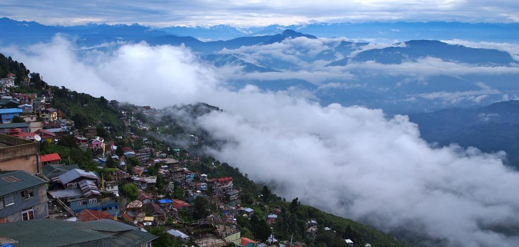 Darjeeling town shrouded in mist