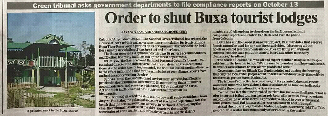 Order to close the lodges in Buxa