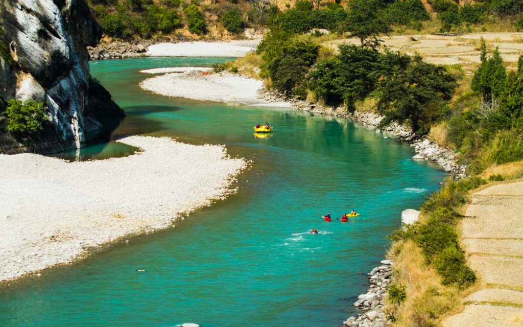 Rafting int he emerald blue river of Bhutan